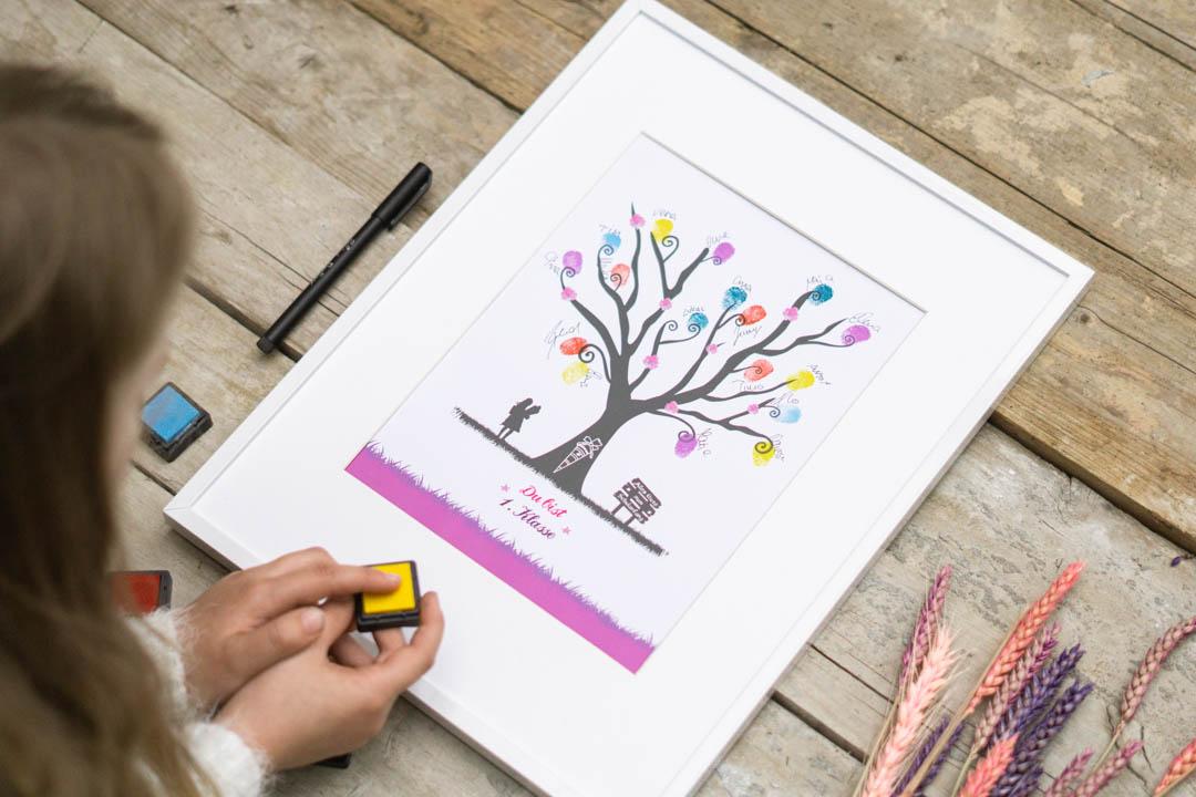 Fingerabdruck Bild Geschenk zur Einschulung für Mädchen