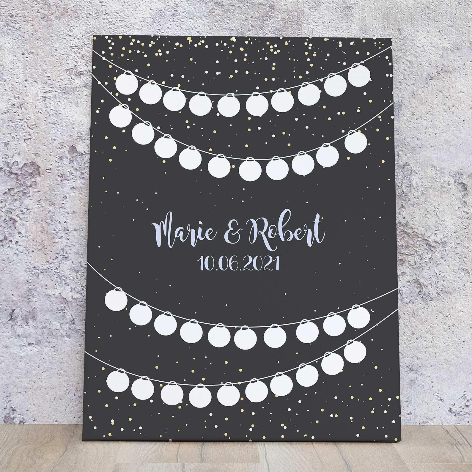 Gästebuch Idee zur Hochzeit Lampion Leinwand 32 bzw. 40