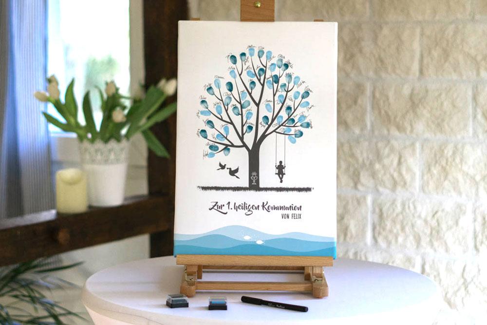 Fingerabdruck Leinwand Gästebuch zur Kommunion für Junge