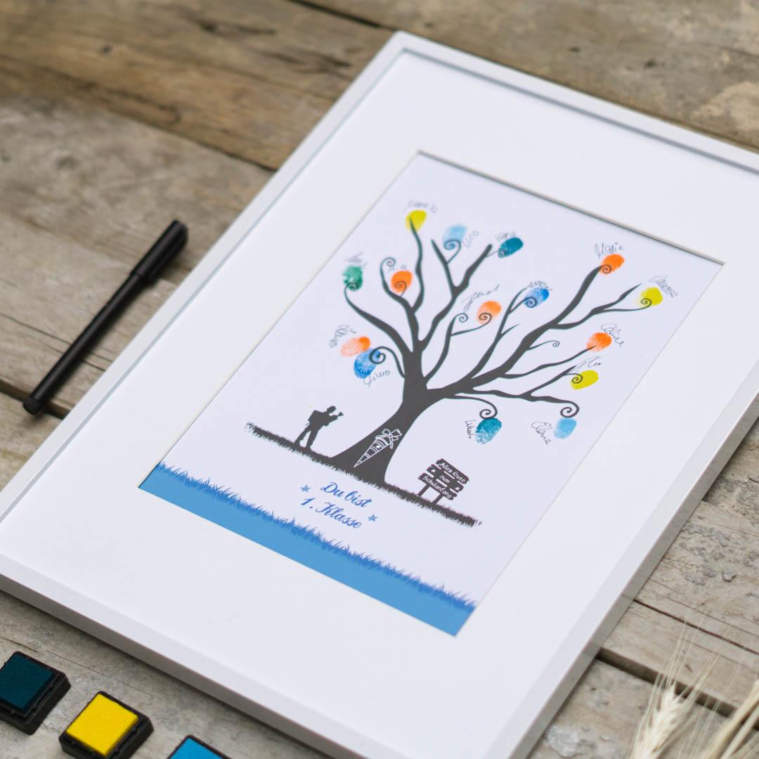 Fingerabdruck Gästebuch zur Einschulung für Junge