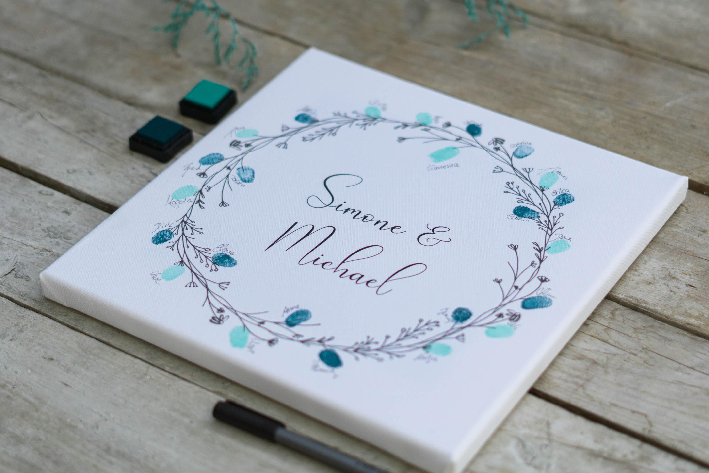 Fingerabdruck Leinwand zur Hochzeit Blumenkranz