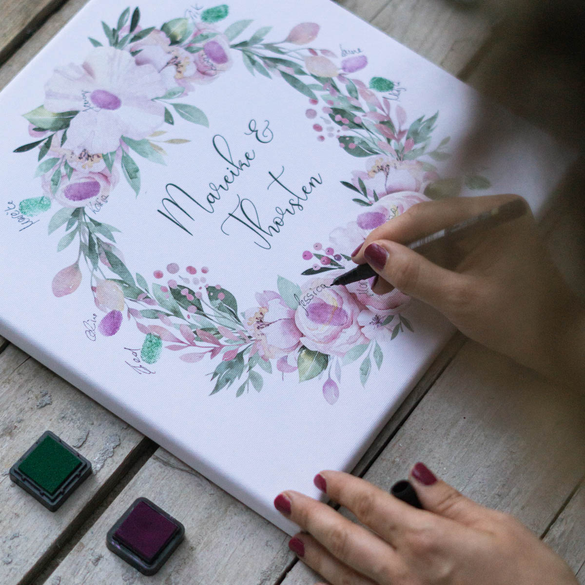 Gästebuch Fingerabdruck Leinwand Idee für die kleine standesamtliche Hochzeit