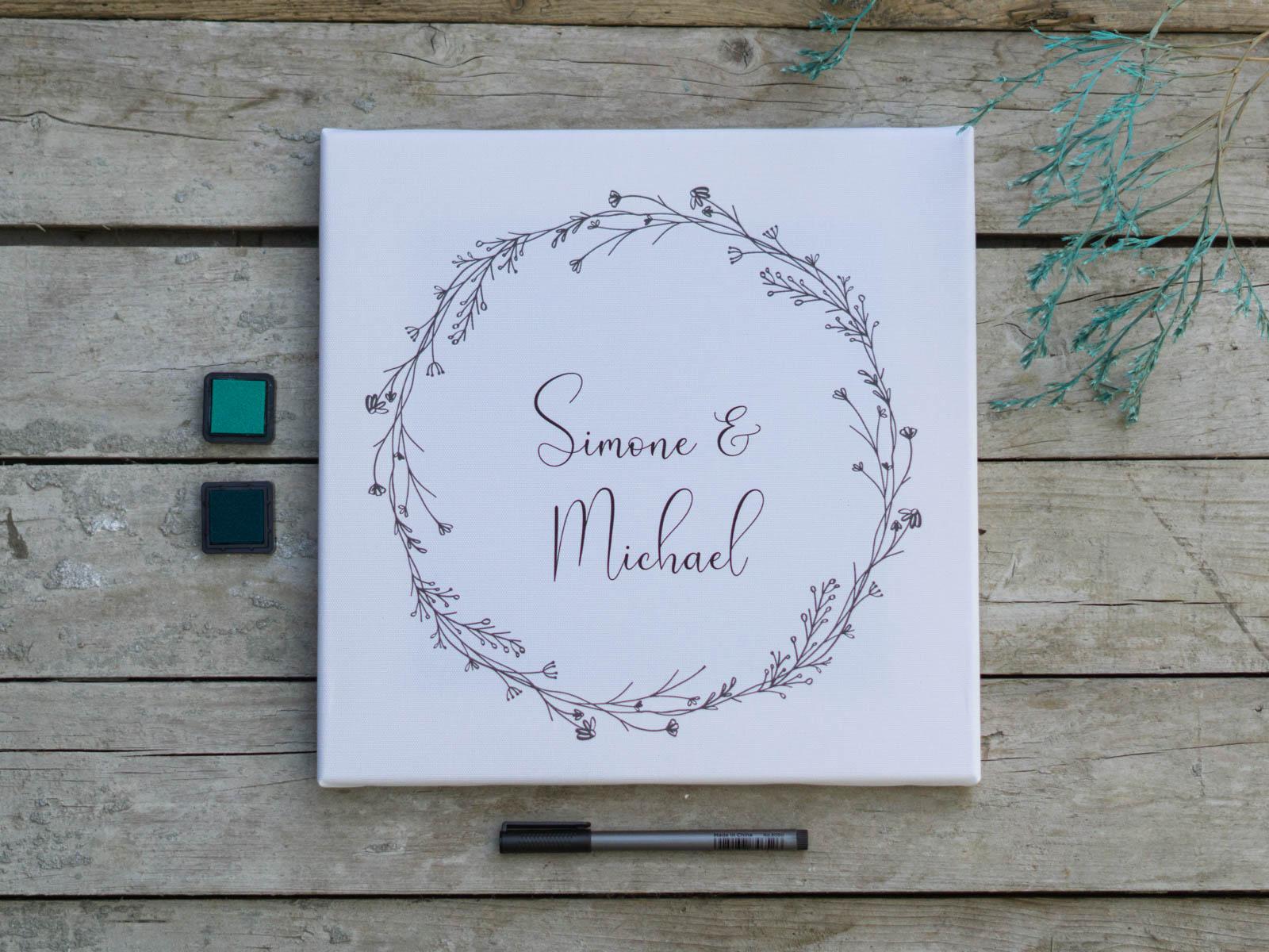 Fingerabdruck Leinwand zur Hochzeit Blumenkranz leer