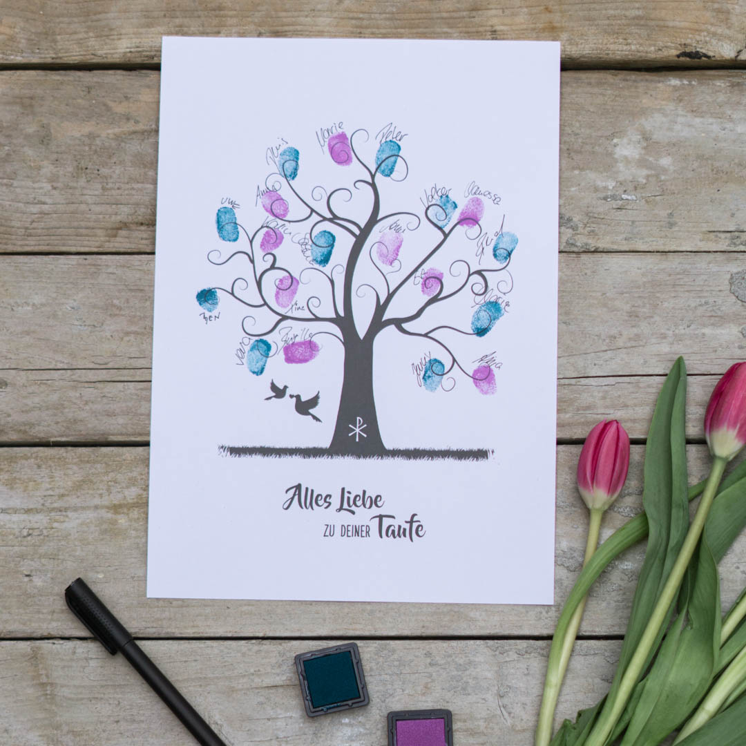 Fingerabdruckbaum als DIY Geschenk zur Taufe