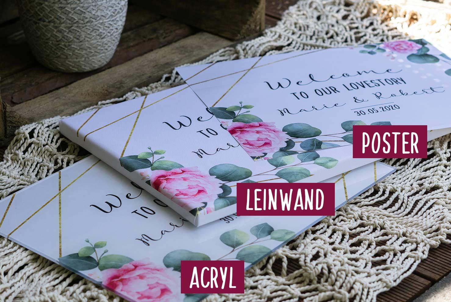 Willkommensschild Welcome für die Hochzeit Poster Acryl und Leinwand
