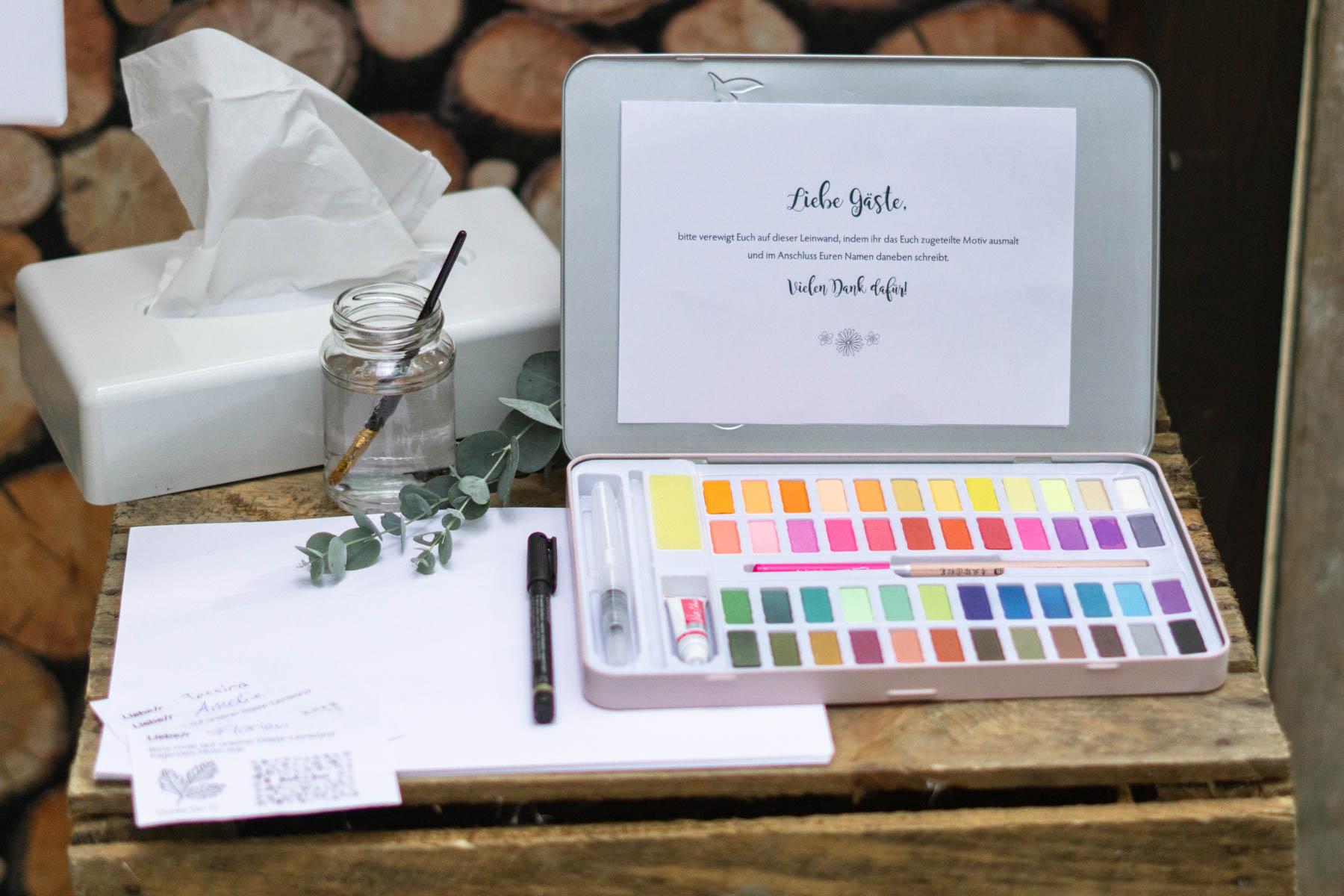 Aquarellfarben für Gästebuch Idee zur Hochzeit Leinwand Blumenwiese zum ausmalen