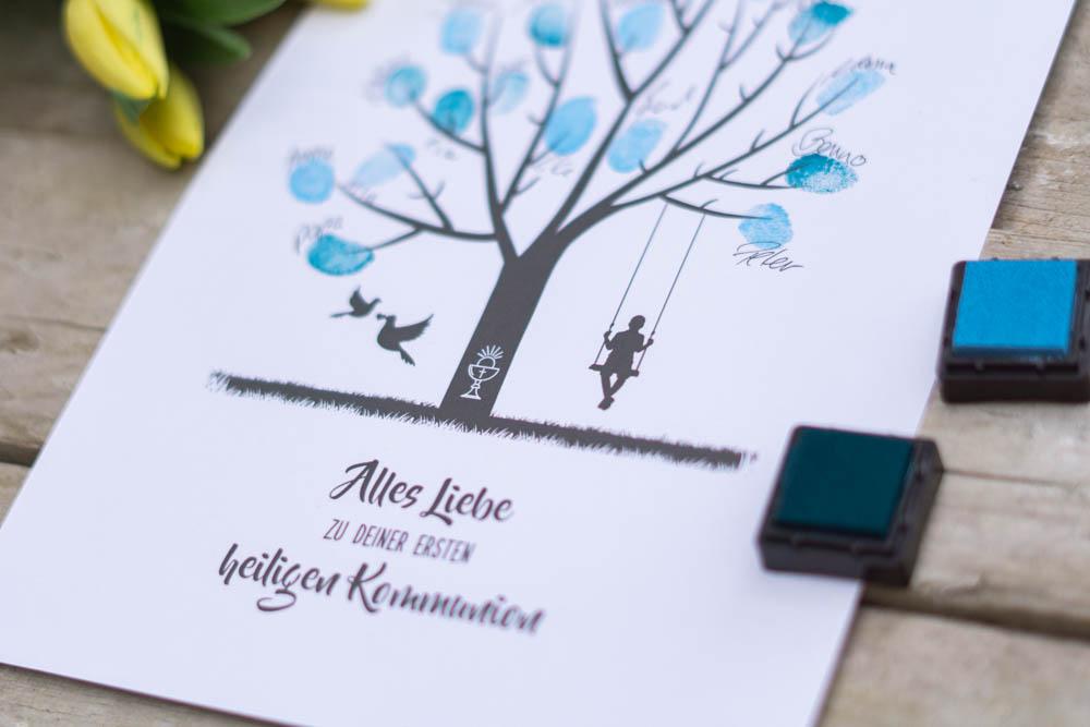 Gästebaum Bild als Geschenk zur Kommunion