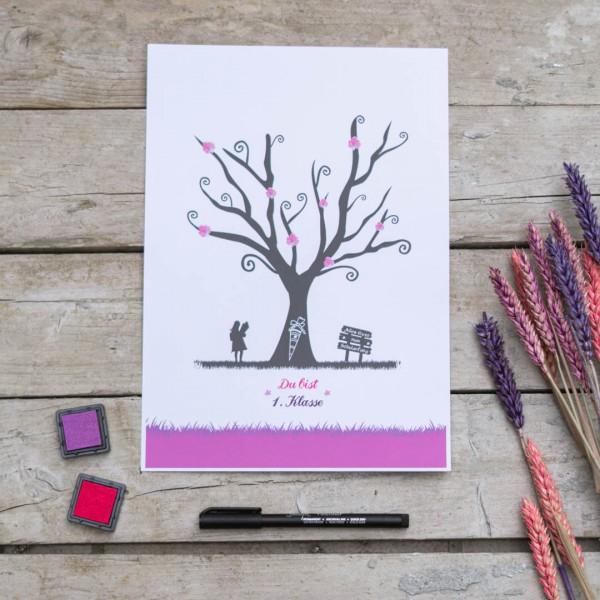 Einschulung Fingerabdruckbaum Mädchen PDF