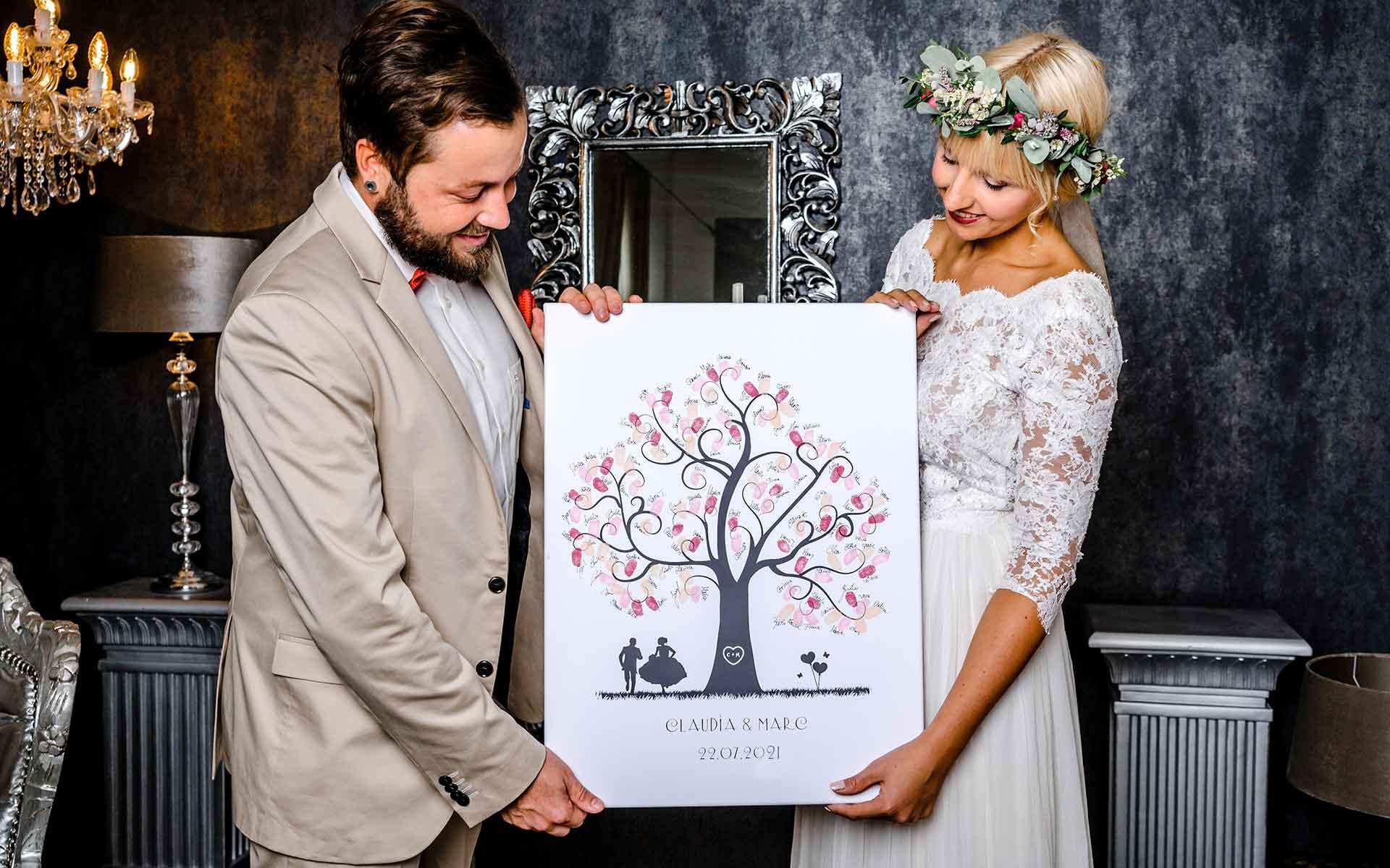 Weddingtree der Hochzeitsbaum als Gästebuch Idee auf Leinwand zur Hochzeit