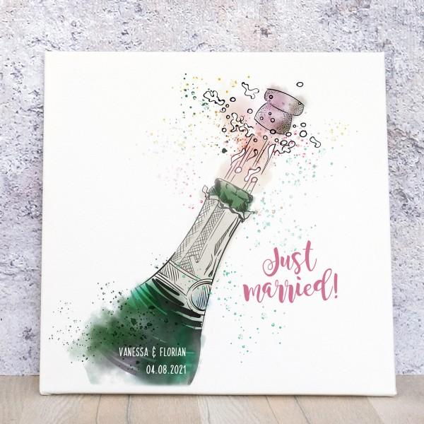 """Fingerabdruck Leinwand Sektflasche """"Just married"""""""