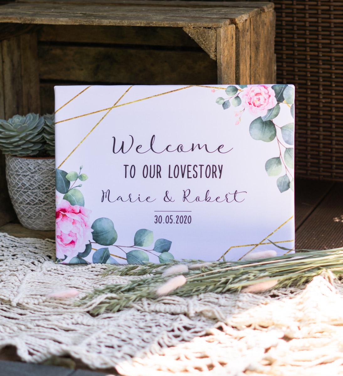 Willkommensschild für die Hochzeit auf Leinwand