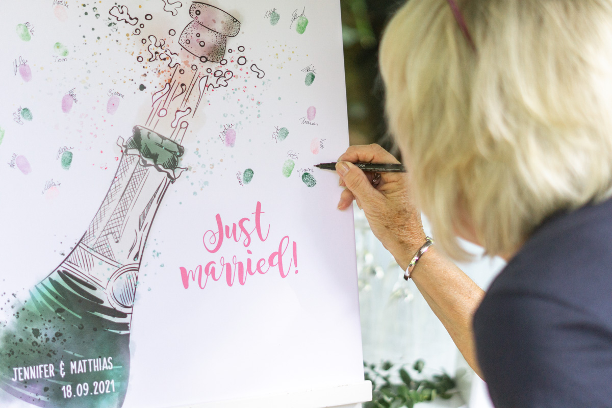 Wedding Tree Fingerabdruck Gästebuch Idee Leinwand Just married